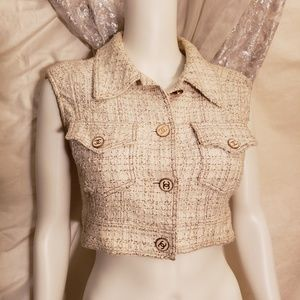 1990s auth CHANEL Paris ivory tweed cropped vest